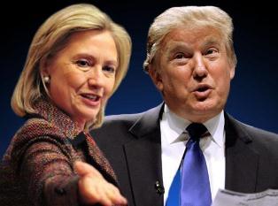 Впереди Трамп и Хиллари Клинтон