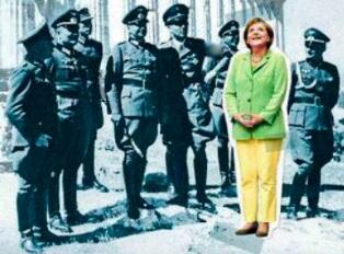 Нацисты окружили фрау Меркель